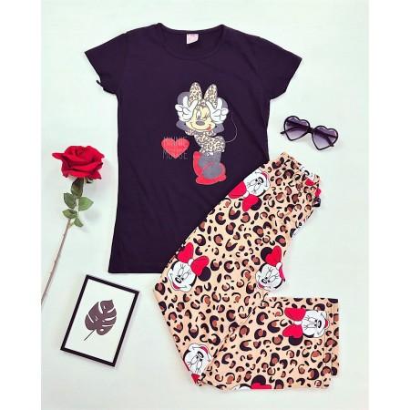 Pijama dama neagra cu imprimeu animal print