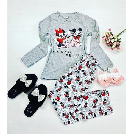 Pijama dama gri lunga cu imprimeu personaje Disney