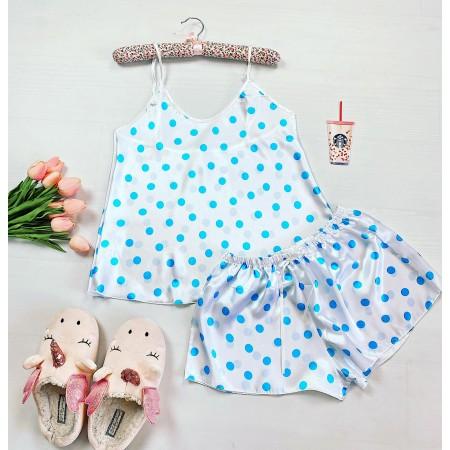 Compleu pijama set maiou si pantaloni scurti din satin premium alb cu imprimeu buline bleu