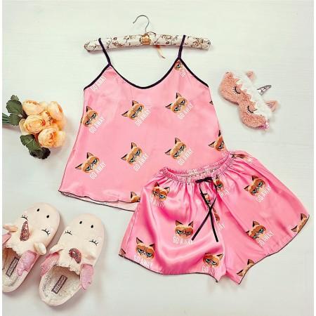 Compleu pijama set maiou si pantaloni scurti din satin premium roz cu imprimeu Grumpy Cat
