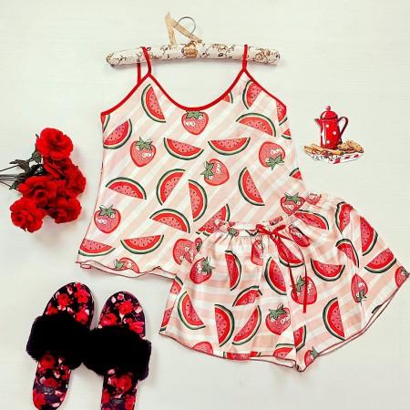 Compleu pijama set maiou si pantaloni scurti din satin premium alb cu imprimeu dungi roz si fructe