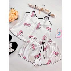Compleu pijama set maiou si pantaloni scurti din satin premium alb cu imprimeu Baby Unicorn