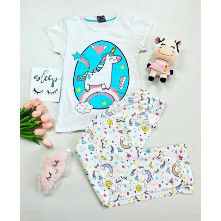 Pijama dama bumbac lunga alba cu imprimeu diafan Unicorn