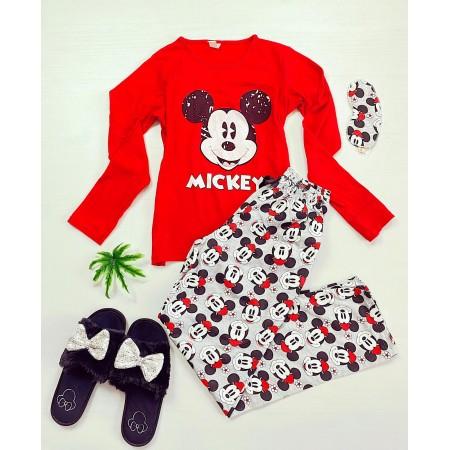 Pijama dama lunga rosie cu imprimeu Mickey si pantaloni gri