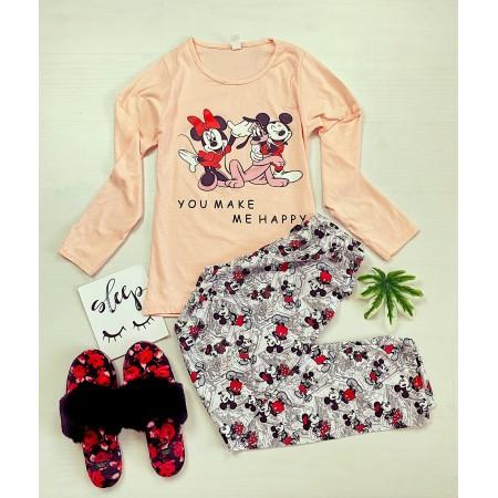 Pijama dama roz lunga cu imprimeu personaje Disney