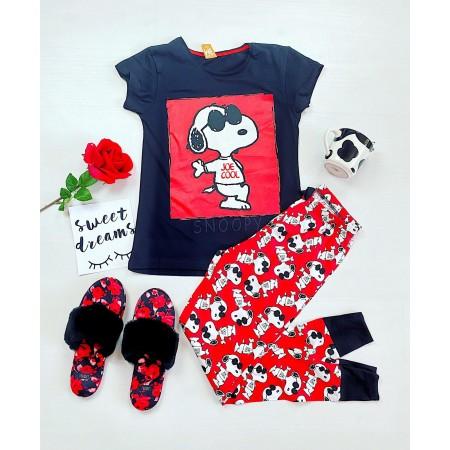 Pijama dama lunga neagra cu imprimeu rosu Snoopy