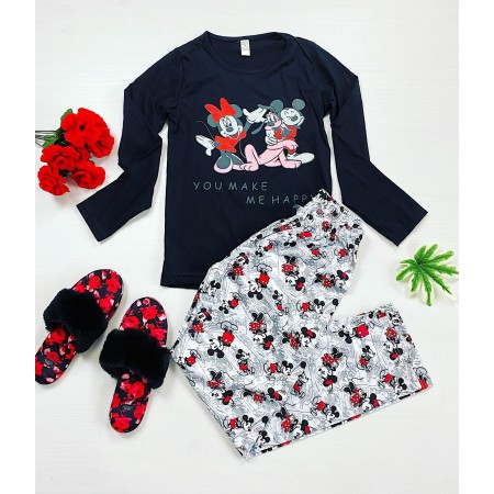 Pijama dama neagra lunga cu imprimeu cuplu Mickey si Minnie