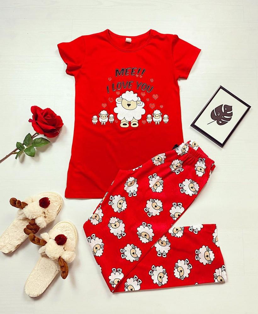 Pijama dama rosie lunga cu imprimeu oite