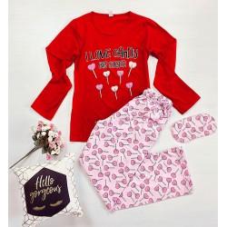 Pijama dama lunga din bumbac rosie cu imprimeu Acadele