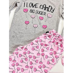 Pijama dama lunga din bumbac gri cu imprimeu Acadele