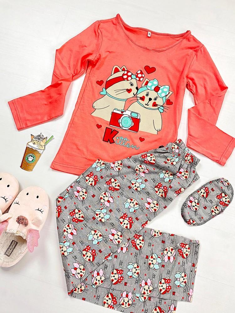Pijama dama lunga din bumbac corai cu imprimeu pisicute