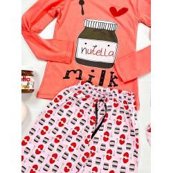 Pijama dama lunga din bumbac corai cu imprimeu Nutella