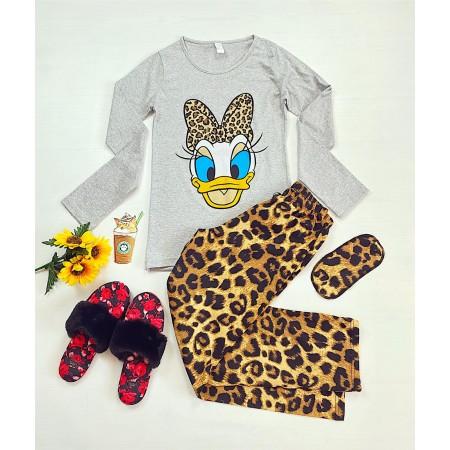 Pijama dama lunga gri cu imprimeu animal print cu ratusca