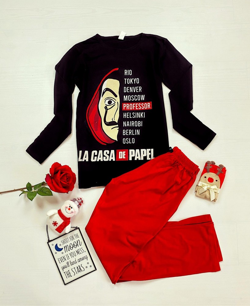 Pijama dama neagra lunga  cu rosu cu imprimeu Casa de Papel