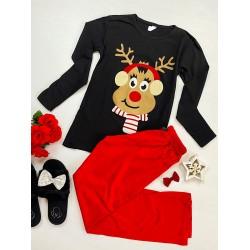 Pijama dama neagra cu rosu cu imprimeu Ren Craciun