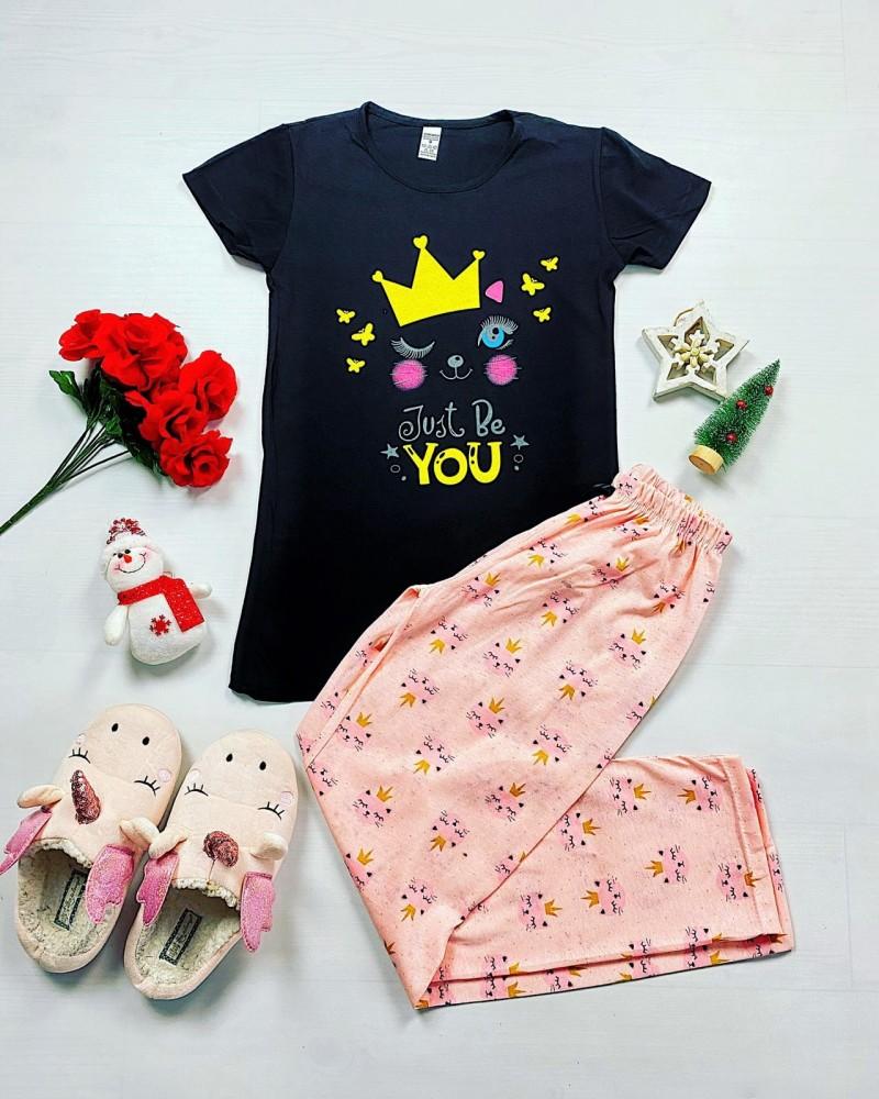 Pijama dama lunga neagra cu imprimeu roz pisici