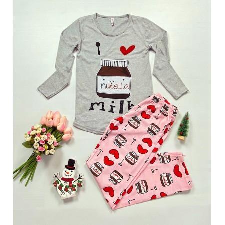 Pijama dama gri cu imprimeu roz Nutella