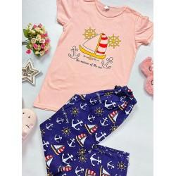 Pijama dama lunga roz cu imprimeu barcute