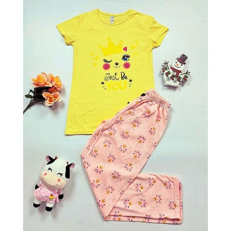Pijama dama galbena lunga cu imprimeu pisicute