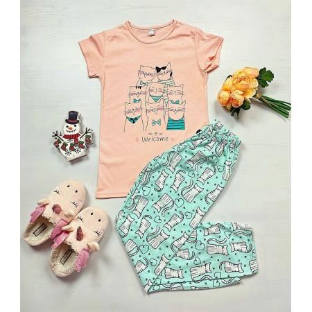 Pijama dama roz cu imprimeu pisicute