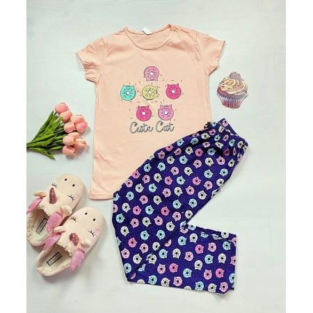 Pijama dama roz cu bleumarin si imprimeu pisicute
