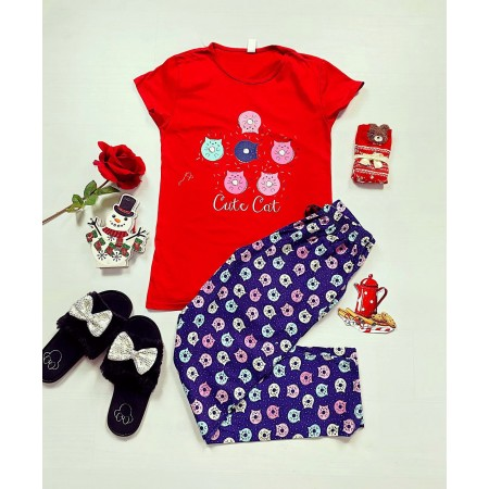 Pijama dama rosie lunga cu imprimeu pisicute