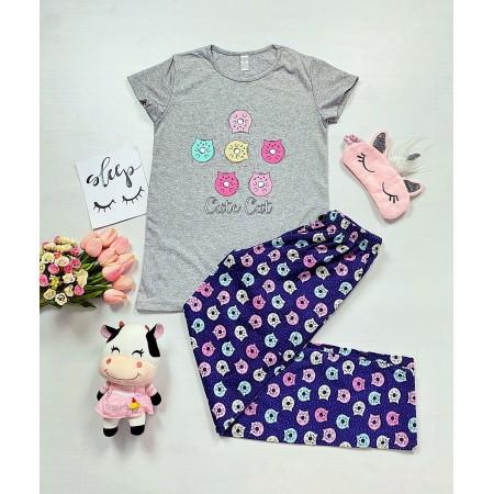 Pijama dama gri lunga cu imprimeu pisicute