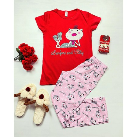 Pijama dama rosie lunga cu imprimeu deosebit