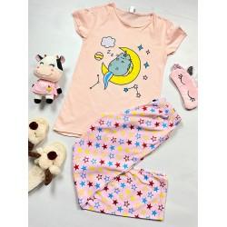 Pijama dama roz lunga cu imprimeu stele si pisicuta
