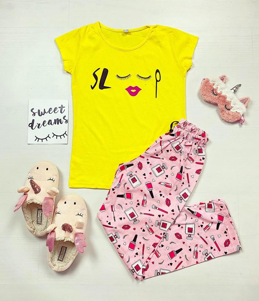 Pijama dama lunga galbena cu imprimeu Make Up