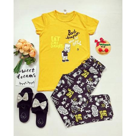 Pijama dama lunga galbena cu imprimeu Bart Simpson