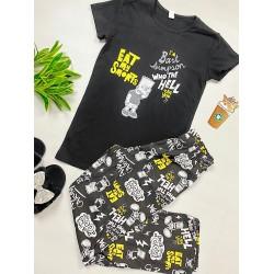 Pijama dama lunga neagra cu imprimeu Bart Simpson