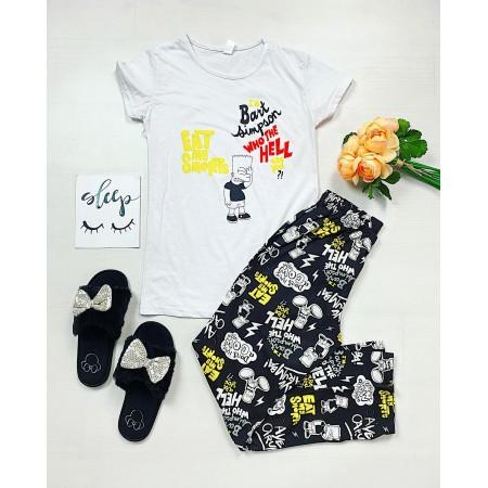 Pijama dama lunga alba cu imprimeu Bart Simpson
