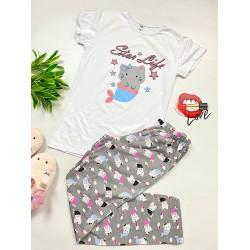 Pijama dama lunga alba din bumbac cu imprimeu Pisirena