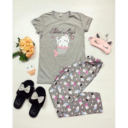 Pijama dama lunga gri din bumbac cu imprimeu Pisirena