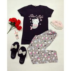 Pijama dama lunga neagra din bumbac cu imprimeu Pisirena