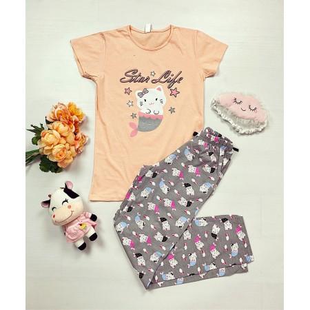 Pijama dama lunga roz pal din bumbac cu imprimeu Pisirena