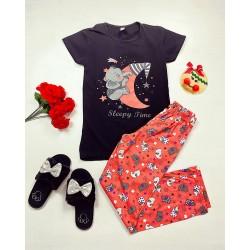 Pijama dama lunga neagra din bumbac cu imprimeu Elefantel