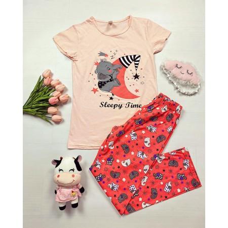 Pijama dama lunga roz pal din bumbac cu imprimeu Elefantel