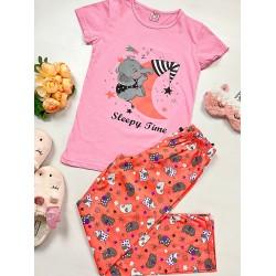 Pijama dama lunga roz din bumbac cu imprimeu Elefantel