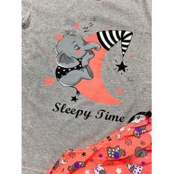 Pijama dama lunga gri din bumbac cu imprimeu Elefantel
