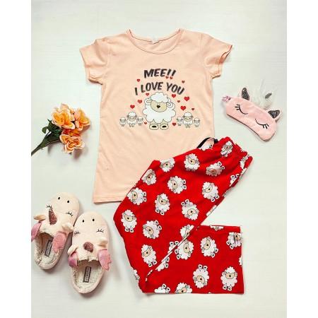 Pijama dama roz lunga cu imprimeu oite