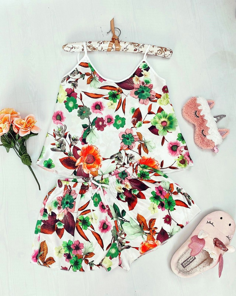Compleu pijama din satin alb cu imprimeu floral