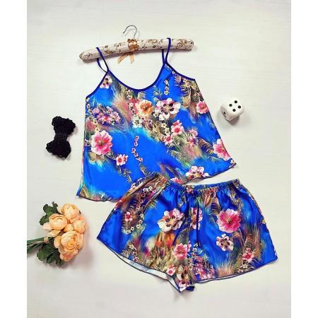 Compleu pijama scurt albastru din satin cu imprimeu floral