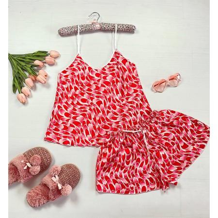 Compleu pijama rosu din satin cu imprimeu