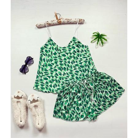 Compleu pijama verde maiou si pantaloni scurti din satin cu imprimeu