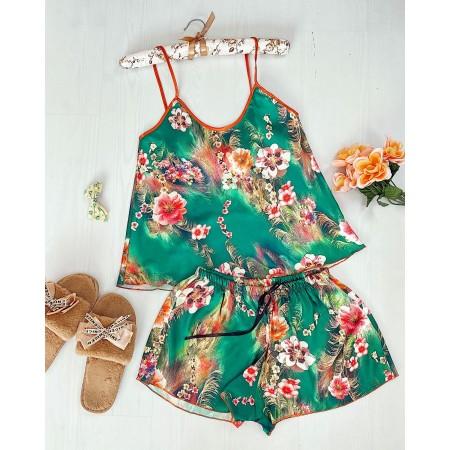 Compleu pijama scurt verde din satin cu imprimeu floral