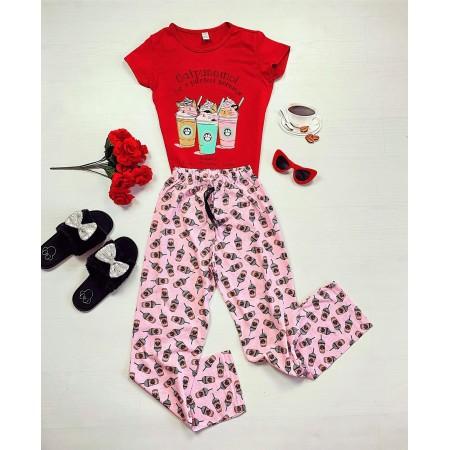 Pijama rosie lunga cu imprimeu Catpuccino si pisicute