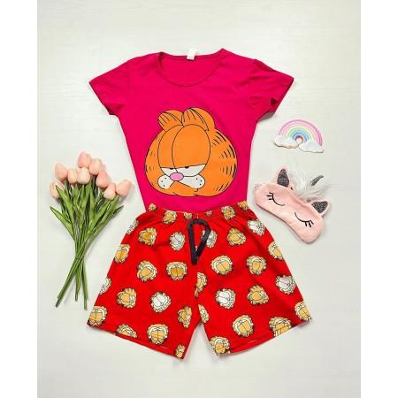 Pijama dama scurta fucshia cu imprimeu Garfield