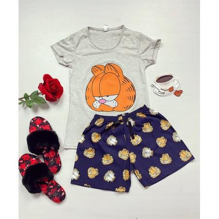Pijama dama scurta gri cu imprimeu Garfield